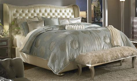 hollywood swank bedroom set aico hollywood swank creamy pearl upholstered bed