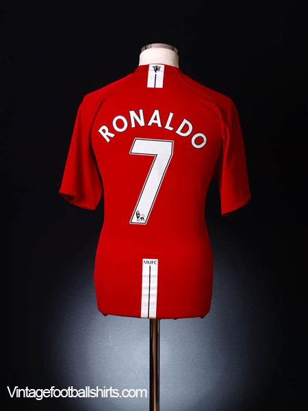 Jersey Retro Manchester United Home 2007 2007 09 manchester united home shirt ronaldo 7 l for sale
