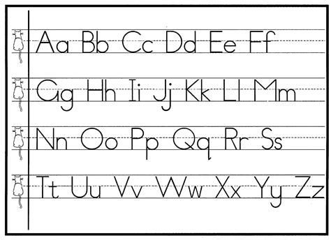 Printable Alphabet Handwriting Chart | handwriting practical pages