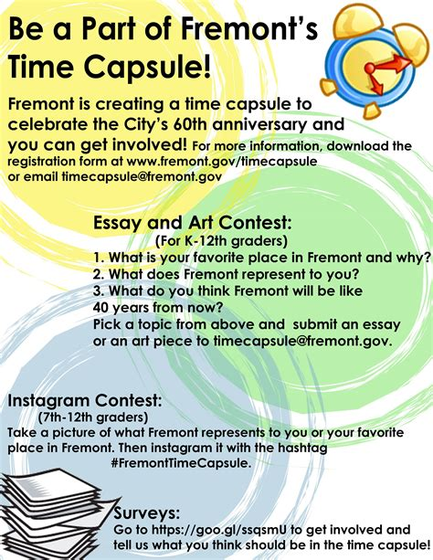 Time Capsule Essay by Time Capsule City Of Fremont Official Website