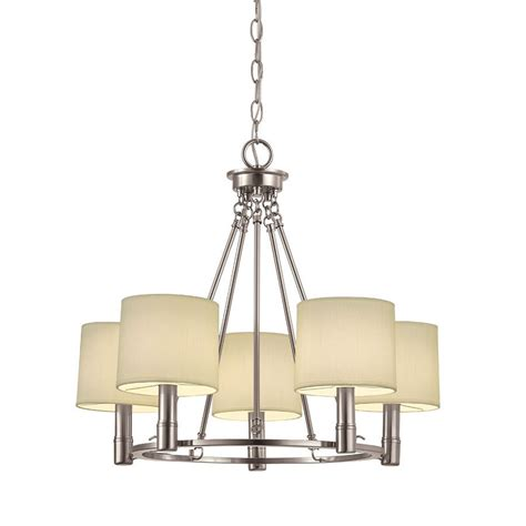 brushed nickel pendant light lowes portfolio 34530 5 light brushed nickel chandelier lowe s