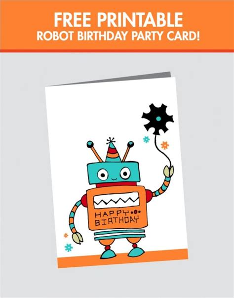 print free birthday cards no download free printable robot birthday card spaceships and laser