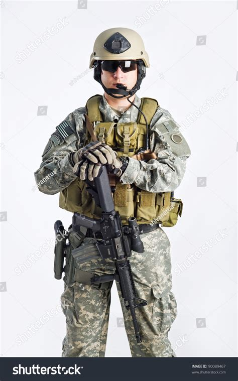 Swat White swat team officer on white isolated background stock photo 90089467