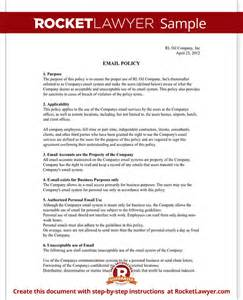 it policy document template company email policy template with sle