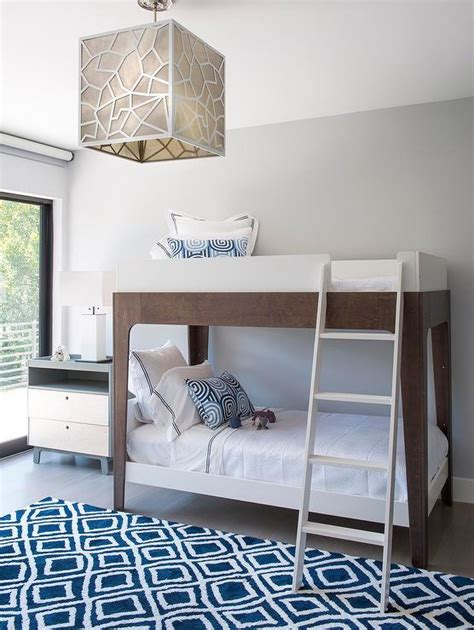 Gray And Blue Boys Bedroom With Gray Wingback Glider Modern Bunk Beds For Boys