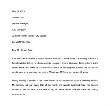 Contract Letter For Visa Sle Invitation Letter For Us Visa 9 Free Documents In Pdf Word