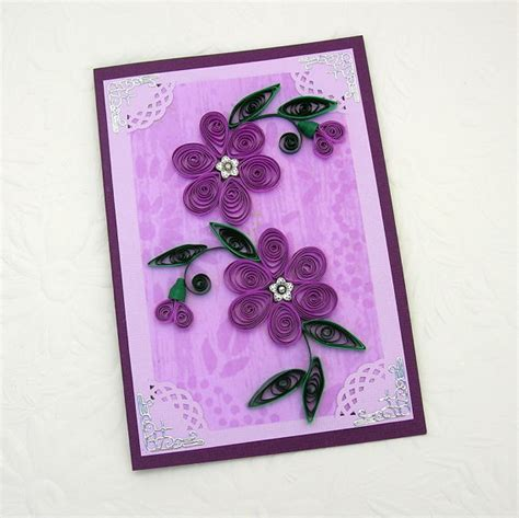 Paper Greeting Cards - paper quilling greeting card paper quilled purple