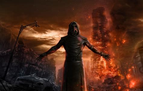 wallpaper fire apocalypse mystic  plague doctor