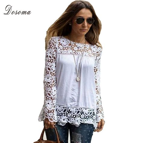 White Crochet Sleeved Shirt 1 2015 new white crochet lace shirt floral lace sleeve chiffon blouse lace