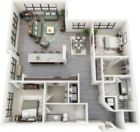 2 bedroom studio apartments 19 awesome 3d apartment plans with two bedrooms part 1