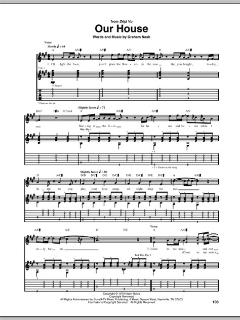 our house the musical soundtrack our house guitar tab by crosby stills nash young guitar tab 68962