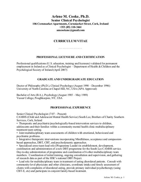 Psychology Resume Sample by Arlene Cooke Clinical Psychologist Cv