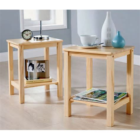 Modern Pair Of Lamp Table Bedside End Side Tables Solid Pine Side Tables Living Room