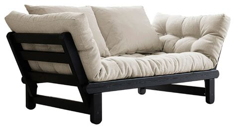 contemporary futon beat convertible futon sofa bed black frame natural