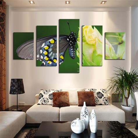 butterfly living room decor 2017 5 panel canvas butterfly flower painting modern fashion living room decor wall