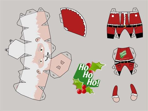 Papercraft Santa - template of santa papercraft vector free