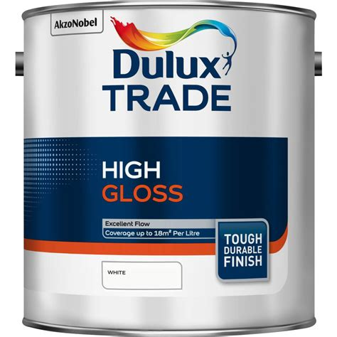high gloss paint dulux trade high gloss paint white 2 5l toolstation