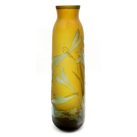 24 Inch Glass Vase by Galle Tip Cameo Glass Vase With Dragonflies 24 Inch