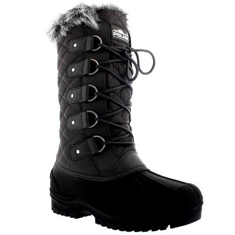 womens faux fur tactical mountain waterproof knee high