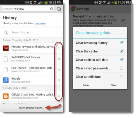 delete browsing history on android delete history on android on various web browsers