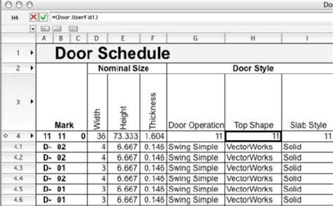 Adding Customized User Defined Fields To My Door And Window Schedules How To Vectorworks Window And Door Schedule Template