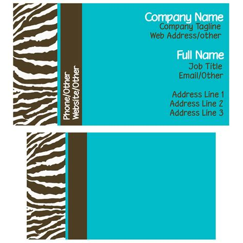 business card template to printed at kinkos brown and blue zebra business card template by stacyo on