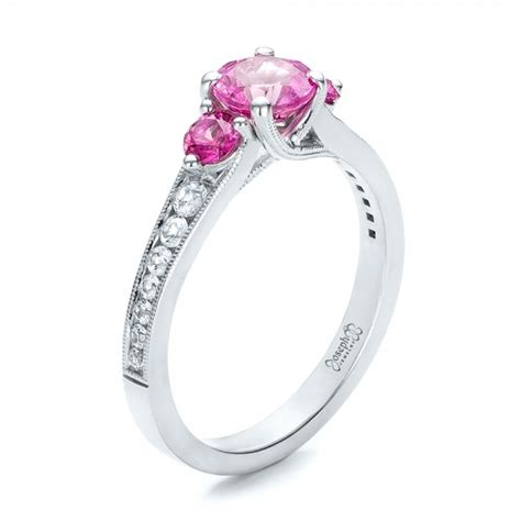 custom pink and white sapphire engagement ring 100883