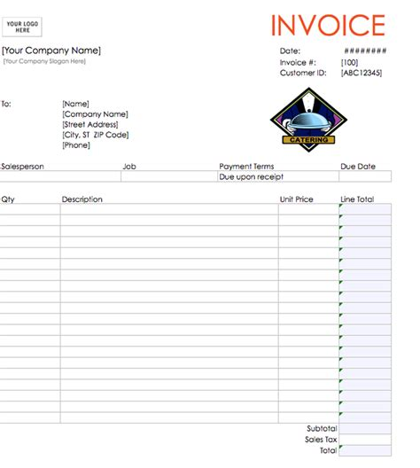 templates for catering invoices catering invoice template invoice exle