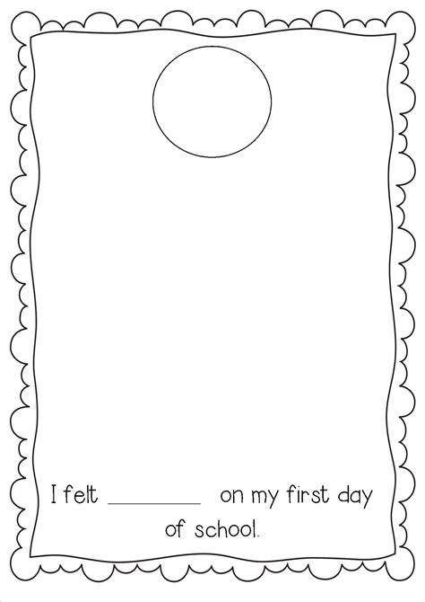 day of school template early years day back