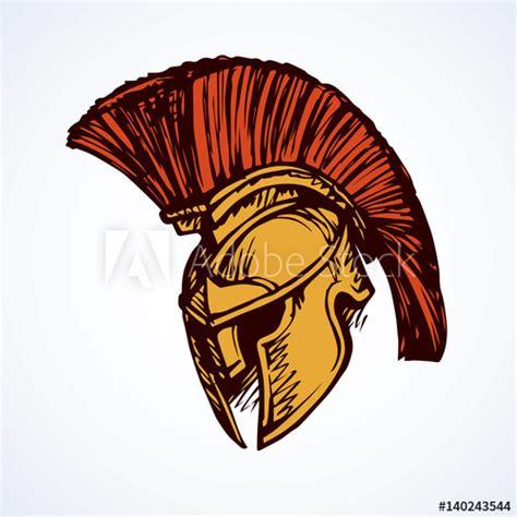 spartan helmet vector drawing buy  stock vector