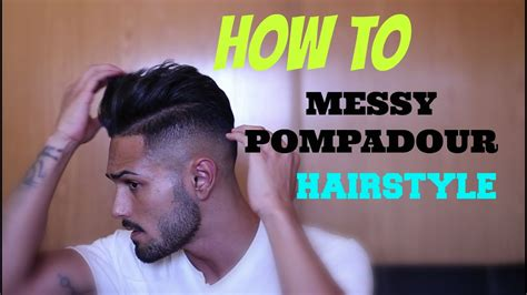 messy pompadour mens hairstyle tutorial como hacer