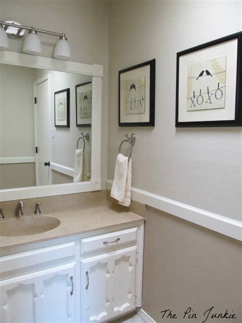 two tone bathroom color ideas the pin junkie bathroom makeover reveal