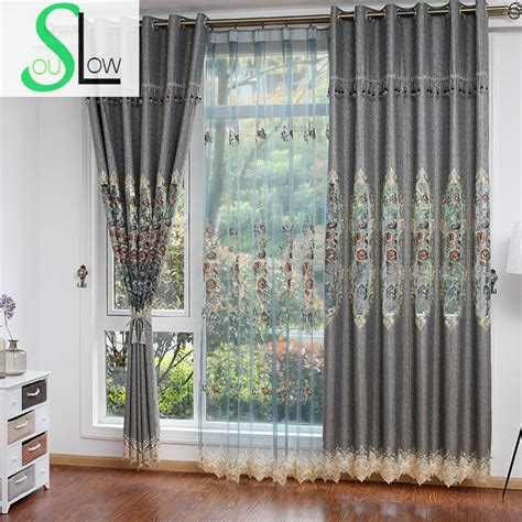 garden curtains european garden water embroidery curtain cloth silver gold