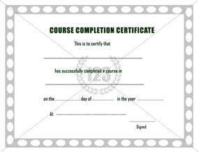 course completion certificate templates photo sle of certificate of completion images