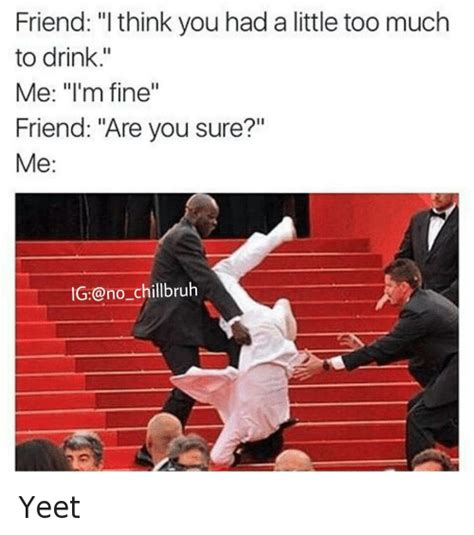 Yeet Meme - friend i think you had a little too much to drink me i m