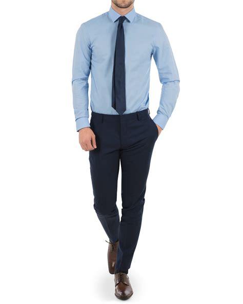 klein ncvt 2 blue light calvin klein bari slim fit stretch poplin shirt light blue