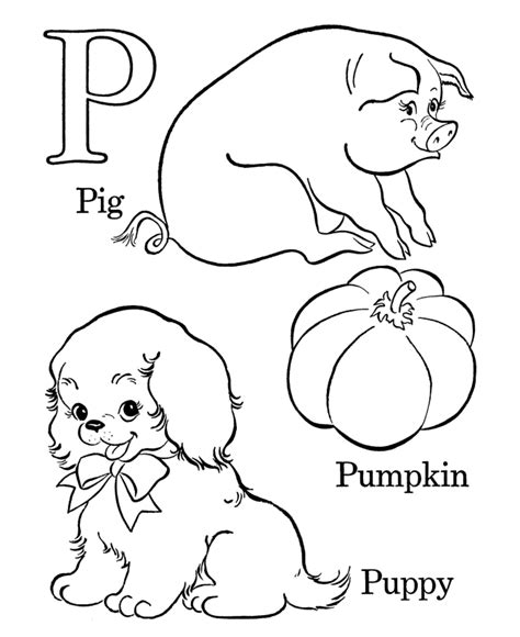 coloring page of letter p learning years coloring pages letters objects