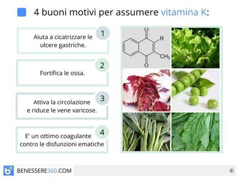 vitamina k alimenti la contengono vitamina k a cosa serve alimenti ricchi e rischi da carenza