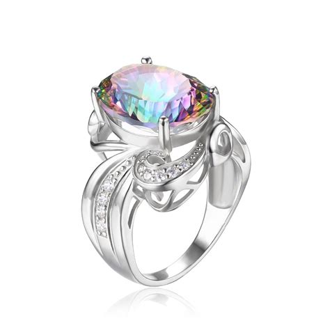 9 73 Ct Multicolor Mystic Quartz Concave Oval Facet 16 X 12 Mm silver big ring picture more detailed picture about luxury cocktail ring 9 5ct genuine gem