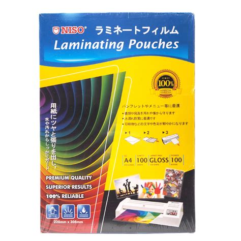 Plastik Laminating Folio Cover 100 Micron niso laminating pouches a4 220 x 308mm 100 micron