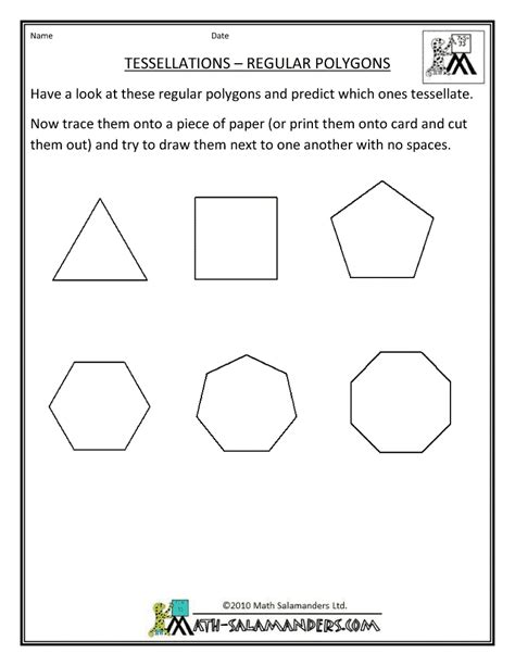 tessellating shapes templates polygon worksheet printable geometry sheets tessellation