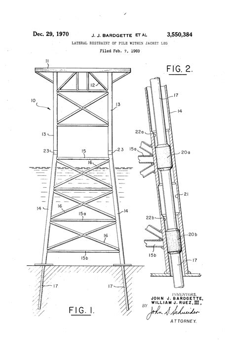 offshore jacket design exle patent us3550384 lateral restraint of pile within jacket
