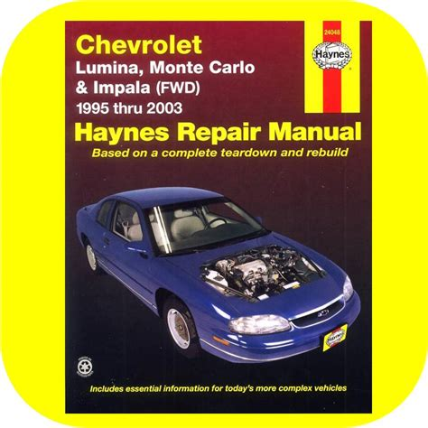 book repair manual 2006 chevrolet monte carlo free book repair manuals repair manual book chevy lumina monte carlo impala 95 1 ebay