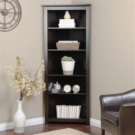 black corner bookcase contemporary cabinet hutch bookshelf