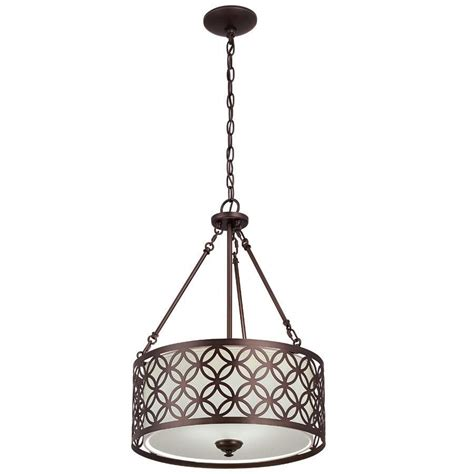 Portfolio Pendant Lighting Portfolio Paisley 18 In Rubbed Bronze Circle Barrel Pendant Light Lowe S Canada