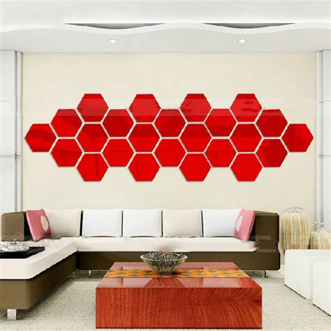 wall sticker mirrors hexagonal 3d mirrors wall stickers home decor living room