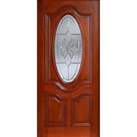 front door with oval window 32 in x 80 in mahogany type prefinished cherry beveled