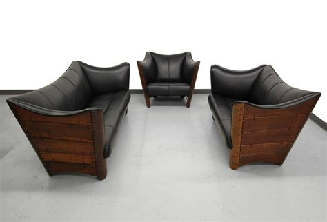 Green Leather Sofa And Loveseat by Pacific Green Palmwood And Leather Cayenne Sofa Loveseat At 1stdibs