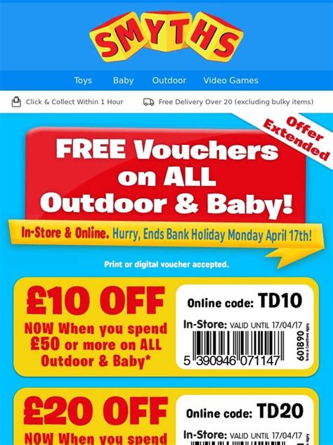 printable smyths vouchers smyths toys hq free 163 40 off voucher on all outdoor baby