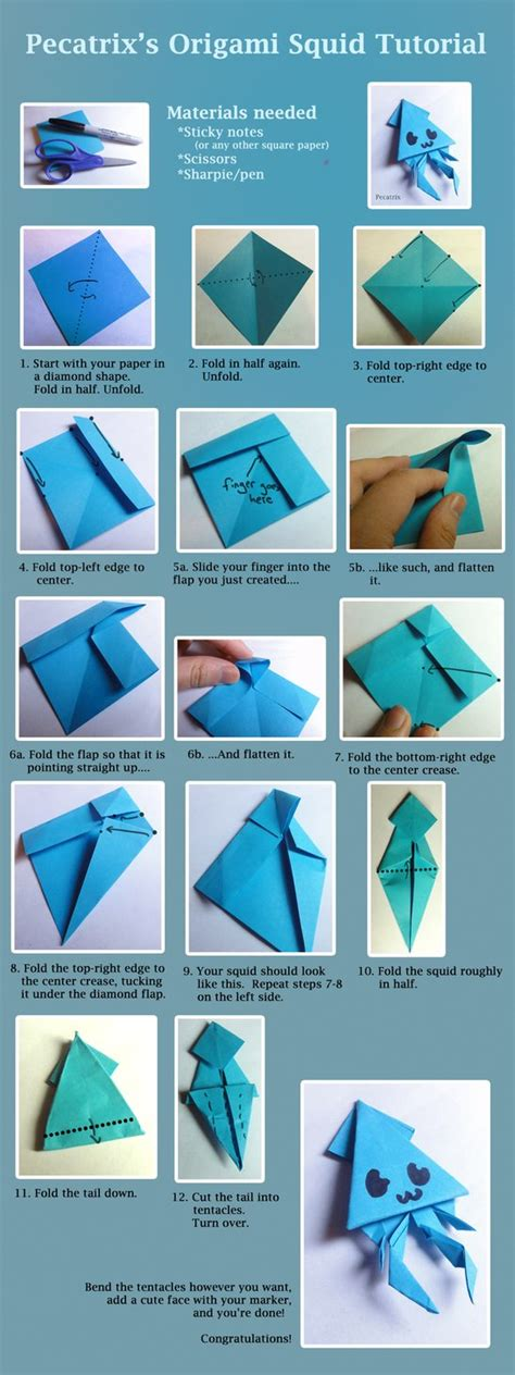 How To Make A Paper Note - origami squid tutorial by pecatrix on deviantart